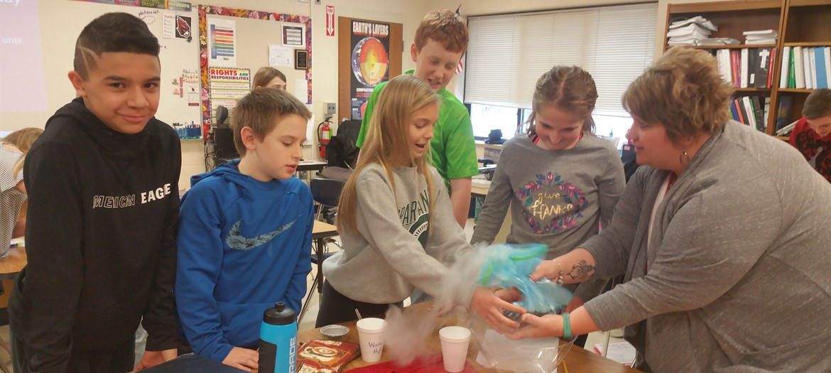 Students are making comets in Mrs. Martin's Science class.