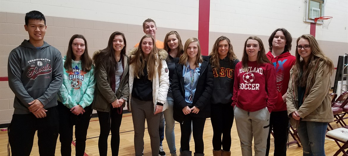 NHS members set up for Red Cross Blood Drive Service Project